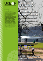 Cover of UKEOF report on the impacts of COVID-19 on environmental citizen science
